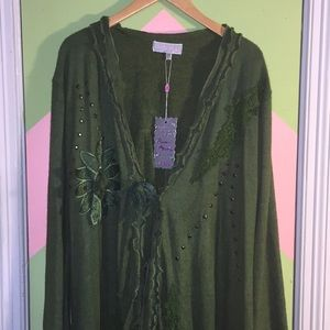 Pretty Angel green long open front sweater-  Large